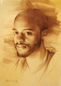 Pastel on Paper 'Mike Scott' by Sretenovic Miroljub
