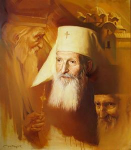 Oil on Canvas 'Patriarch 3 faces' by Sretenovic Miroljub