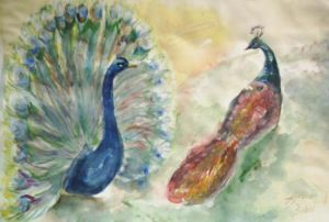 Watercolor on Paper 'Two of Them - Peacocks' by Sakic Ljubica