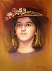 Pastel on Paper 'A girl with a hat' by Sretenovic Miroljub