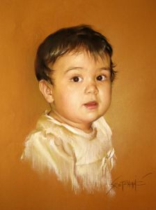 Pastel on Paper 'Little Jovana' by Sretenovic Miroljub